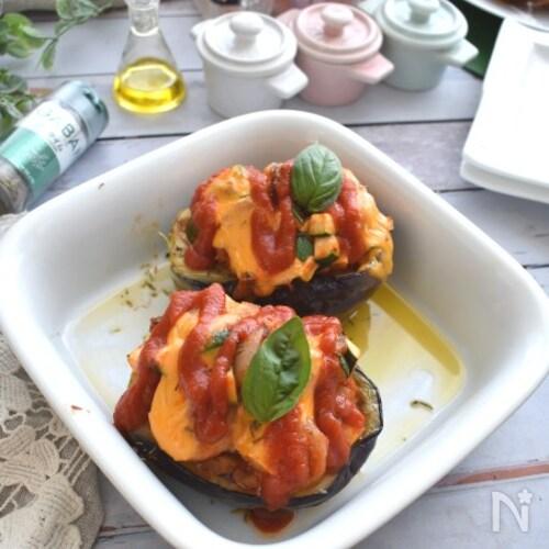 エビとズッキーニを詰めた米茄子のリピエーニ