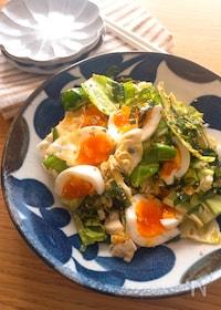 『白だしでさっぱり美味しい♡春キャベツと半熟卵の和風サラダ』