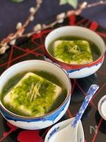 春を感じる♡青さ海苔の餡かけ温豆腐