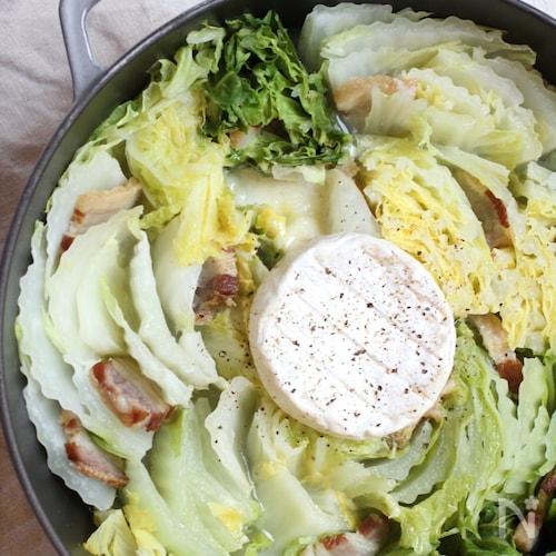 白菜とベーコンのカマンベールミルフィール蒸し