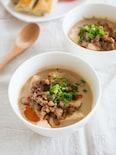 簡単!くずし豆腐ともやしの坦々スープ