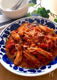 『短時間にホロホロ鶏♡手羽中とお豆のバジル香るトマト豆乳煮込み』