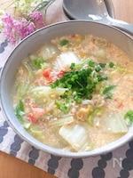 玉子豆腐とカニカマ使って簡単うまうまあんかけ白菜♡