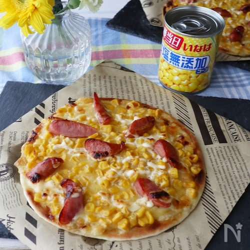 コーンたっぷりガーリックマヨピザ♪市販のピザ生地で簡単!