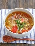 豆もやしと豚肉とトマトのスープ