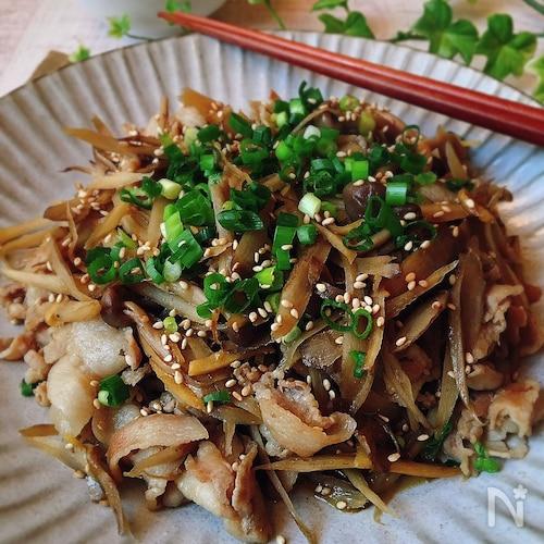 [お弁当][作り置き][混ぜご飯]豚肉とごぼうの甘辛炒め