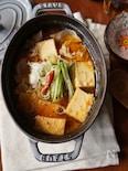 厚揚げと豚肉のピリ辛スープ