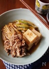 『豚こまと厚揚げの簡単肉豆腐』