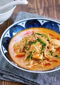 『重ねて煮るだけ♪『もやしと豆腐のうま辛♡坦々スープ』』