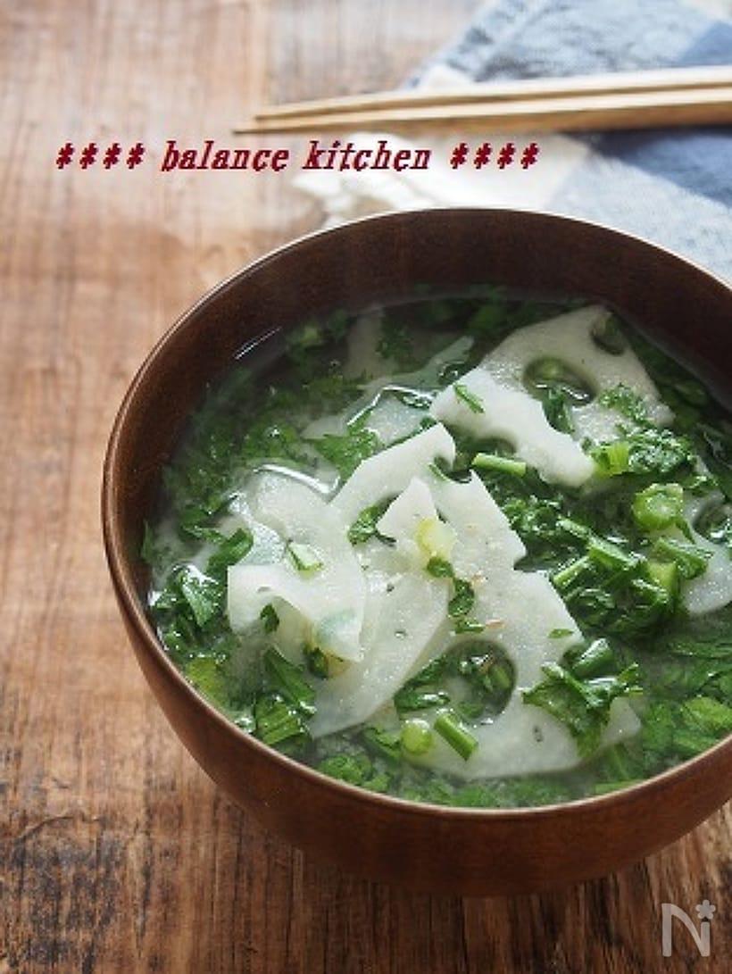 れんこんと春菊のお味噌汁