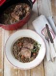 ストウブ鍋で塩豚とレンズ豆の煮込み