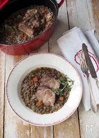 『ストウブ鍋で塩豚とレンズ豆の煮込み』