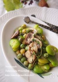 『緑の豆とマッシュルームのガーリックソテー』