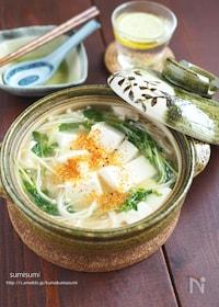 『一手間で豆腐ぷるっぷる!白だしあんの湯豆腐』