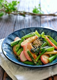 『小松菜と蒲鉾のごまマヨ炒め』