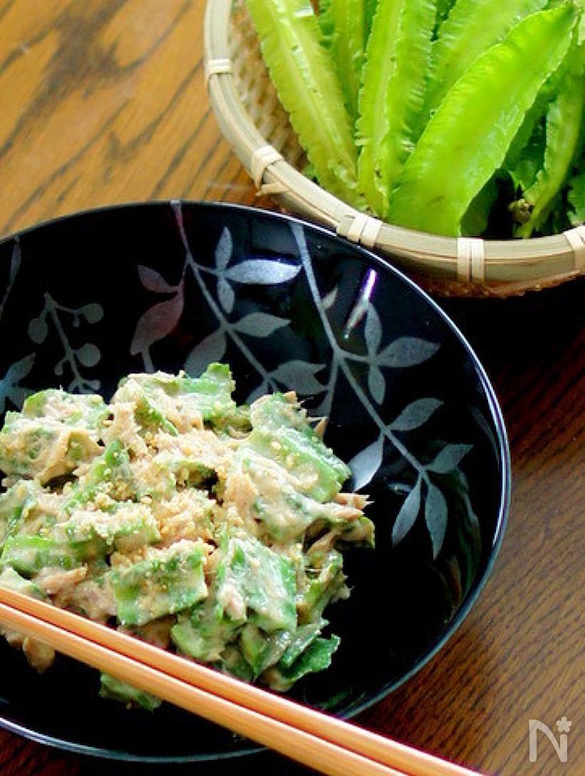 四角豆、ツナ、マヨネーズ、練りごまの和え物