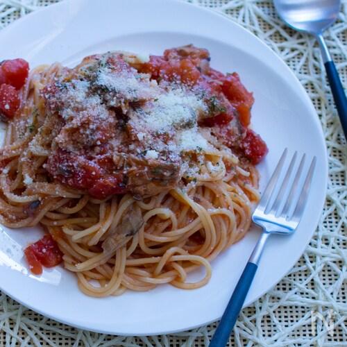 【災害・キャンプ・節約】さば缶で作る水漬けトマトパスタ