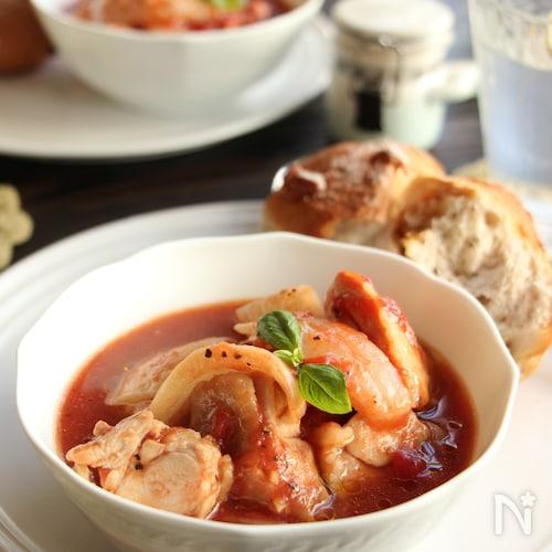 レンジ調理!鶏と新玉ねぎのトマト煮