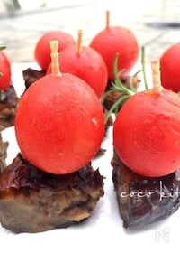『〜プチトマトと米なすの肉味噌詰めピンチョス〜』