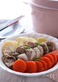 『ヘルシー蒸し豚と温野菜』