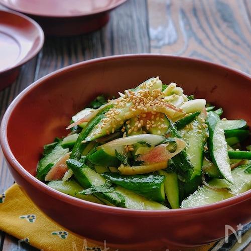 ポリ袋で!きゅうりと香味野菜と生姜の即席さっぱりサラダ漬け