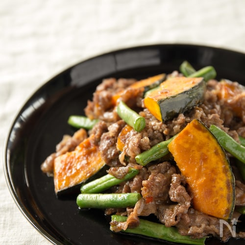 いんげんとかぼちゃと牛肉の中華炒め