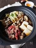 たっぷりきのこと牛肉のすきやき鍋