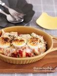 夕飯のおつまみに♡5分で準備完了♡なすのトマトチーズ重ね焼き