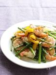 【減塩レシピ】海老とにんにくの芽のガーリック炒め