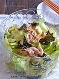 レタスと茹で豚と焼き海苔のサラダ
