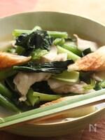 小松菜と豚バラ肉のサッと煮♪