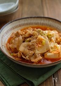 『めんつゆで簡単!*ピリ辛韓国風豚バラ肉豆腐*』