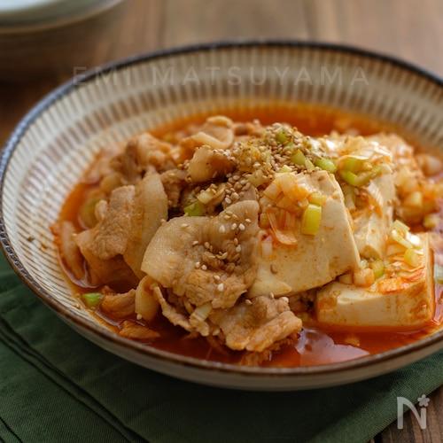 めんつゆで簡単!*ピリ辛韓国風豚バラ肉豆腐*
