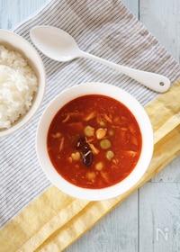 『ポリ袋で2品同時に防災食☆白ごはん&ツナとお豆のトマトカレー』