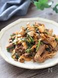 スタミナばっちり♡牛肉と舞茸のオイマヨにらキムチ炒め
