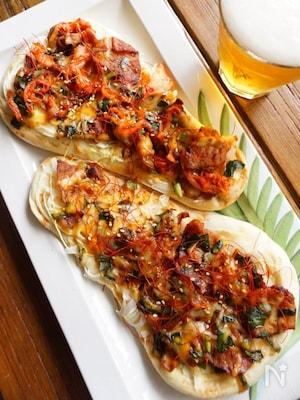 オーブントースターで簡単に!ビールが進む★焼肉のナンピザ