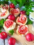 食パンで簡単おやつ【アップルローズパイ】レンジカスタード使用