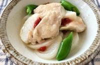 鶏胸肉・新玉ねぎ・長芋の梅だし煮