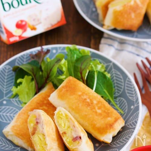 春巻きの皮で『さつまいもとブルサン de ポテトチーズパイ』
