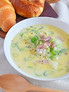 ねぎたっぷり!豆乳とベーコンのスープ