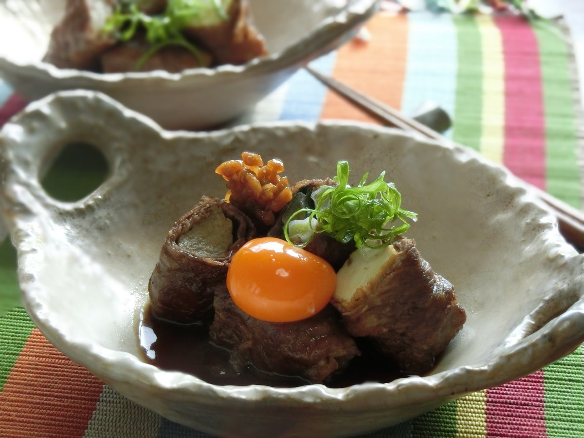 牛肉と厚揚げのロールすき焼き