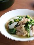 鶏と新玉と菜の花の白だし煮