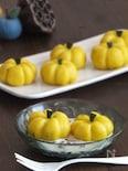 かぼちゃあん入りかぼちゃ型のかぼちゃ白玉団子。