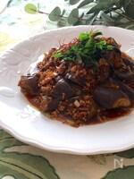 なすの赤味噌挽肉バルサミコ炒め