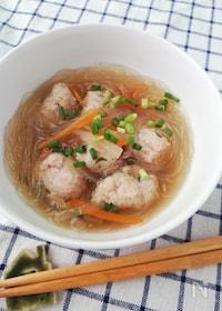 『夏の疲れた胃に優しい☆お豆腐入り鶏団子春雨スープ』