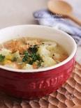 バター香るちくわとコーンの食べるコンソメスープ♡