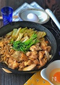 『LODGEスキレットで*舞茸と長ねぎの鶏すき鍋*』