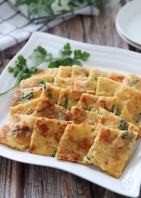 『これは美味しい発見♡玉子豆腐でカニカマと青ねぎのチヂミ』