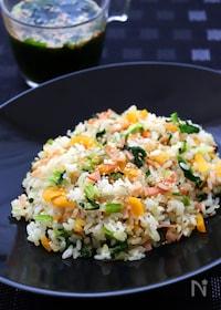 『たくあんと青菜の塩チャーハン』
