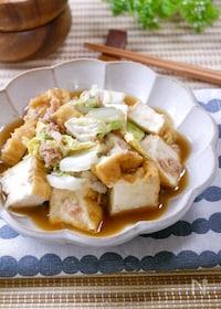 『レンジで簡単!無水♡『白菜と厚揚げとツナの旨煮』しっかり味♪』